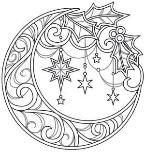 Celestial Christmas - Lunar Wreath design (UTH14348) from UrbanThreads.com
