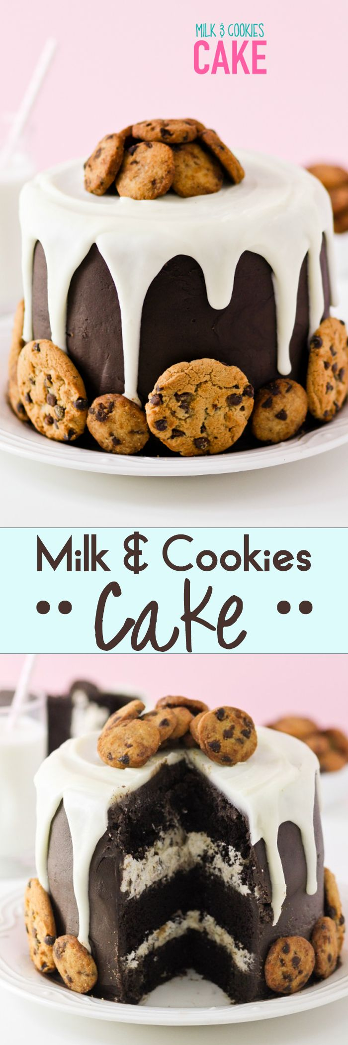 Milk & Cookies Cake -- how fun for a Milk & Cookies themed Birthday party?!?! LOVE LOVE LOVE.