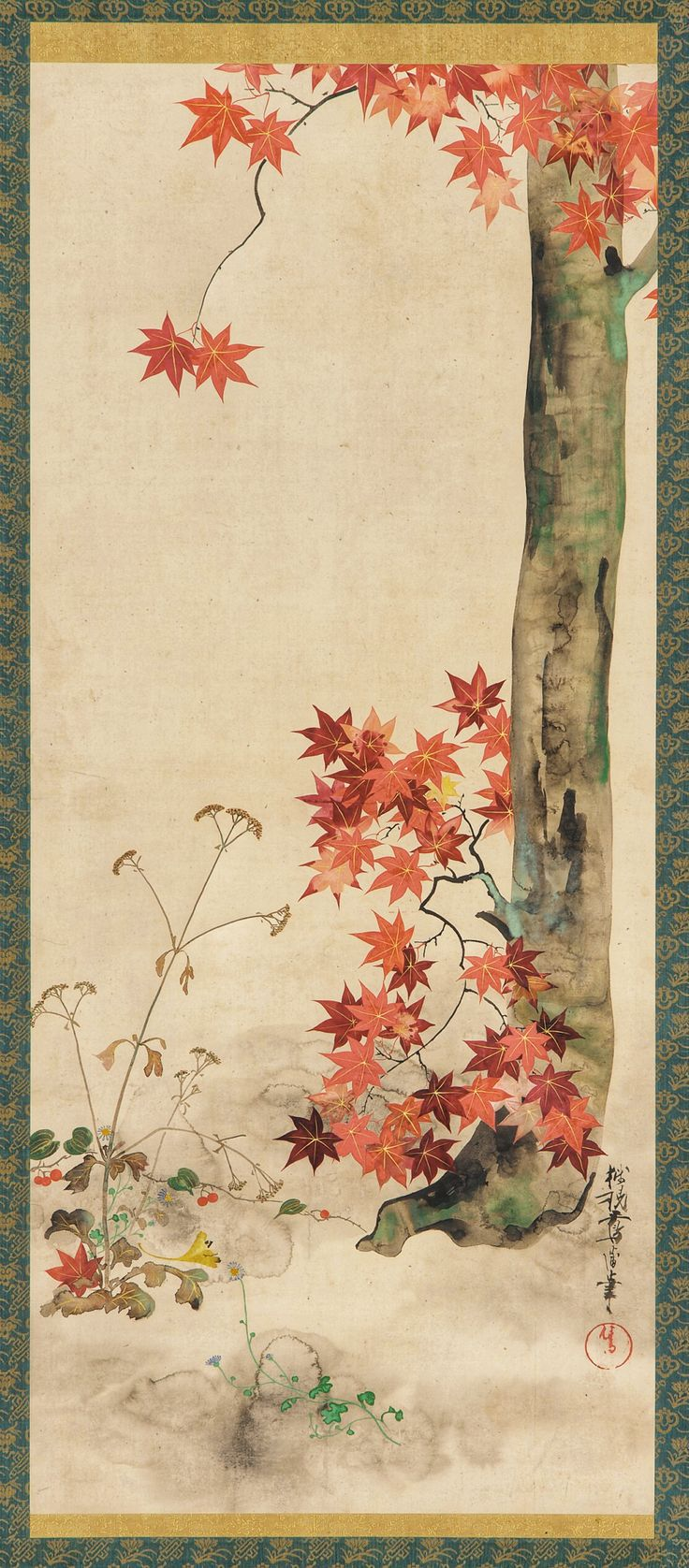 Japanese Maple and Autumn Plants. Japanese hanging scroll. 酒井鶯蒲 Sakai Oho. Ink and color on paper. Edo period. Rimpa School. Freer.