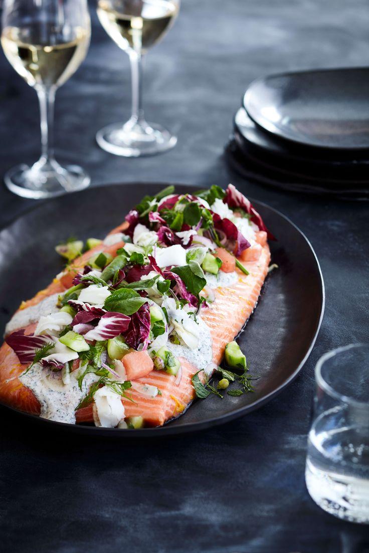 Slowbake King Salmon, Yoghurt Dressing With Melon And Pomegranate Salad