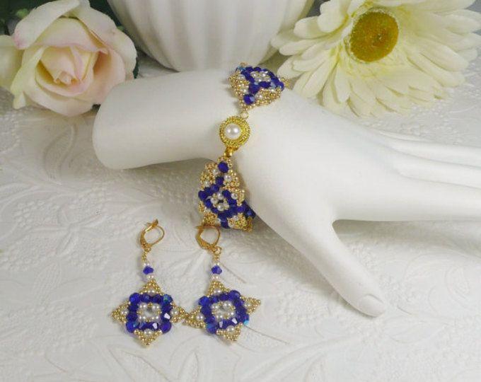 Tessuto Bracciale e orecchini Set blu cobalto