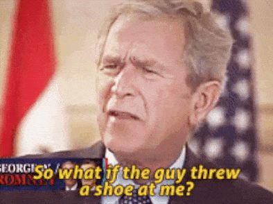 George Bush's reaction to getting a shoe thrown at him