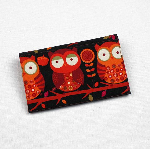 Owls Fabric Checkbook Cover for Duplicate Checks with Pen Holder in Black and Orange