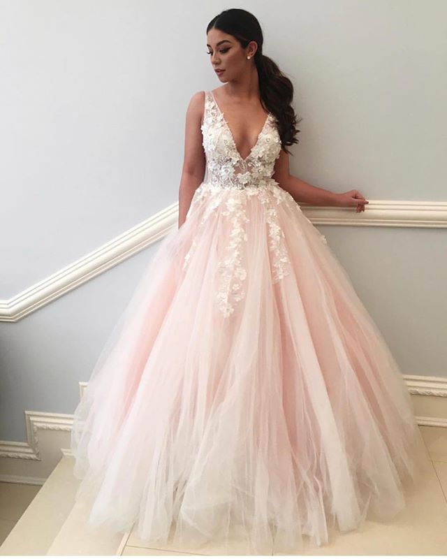 6c2e94b6f275a Light Pink Flowers Prom Dress Y62 in 2019 | Party Dresses | Blush ...