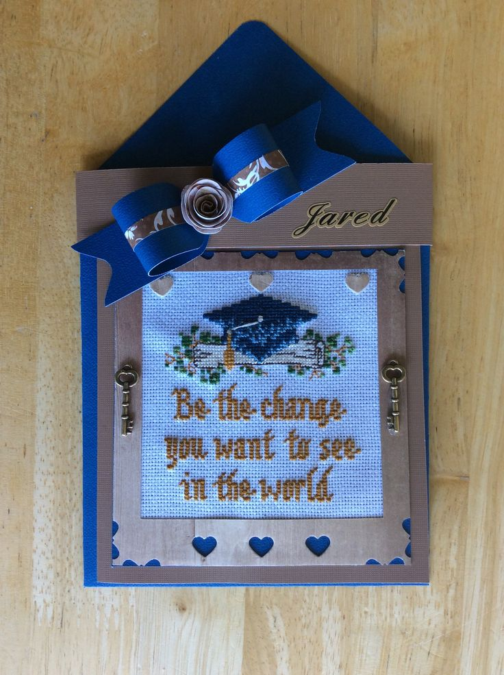 #22 Cross Stitch Graduation Card made by Karen Miniaci. Matching envelope, band and bow made with Envelope  Punch Board.
