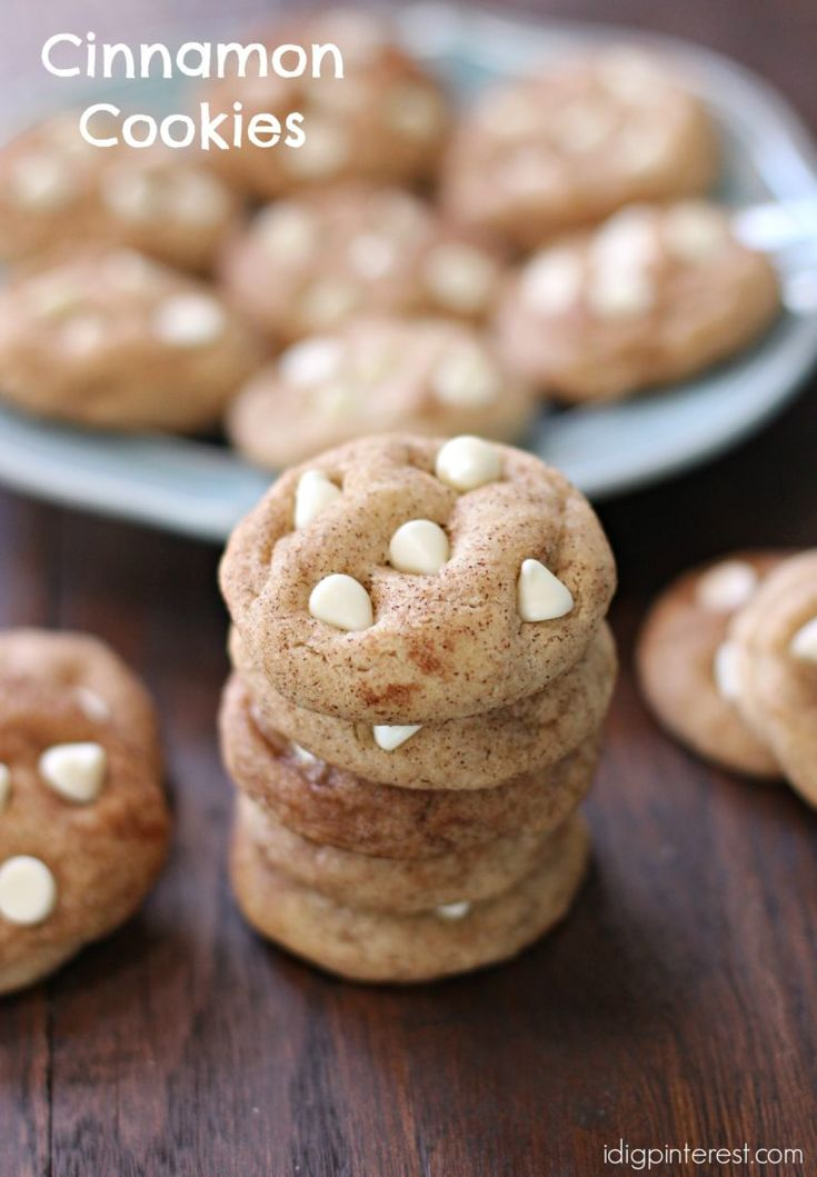 Cinnamon Cookies. A soft Snickerdoodle-type cookie with cinnamon in the dough that's rolled in cinnamon and sugar for that extra yummy factor! #cinnamon #whitechocolate
