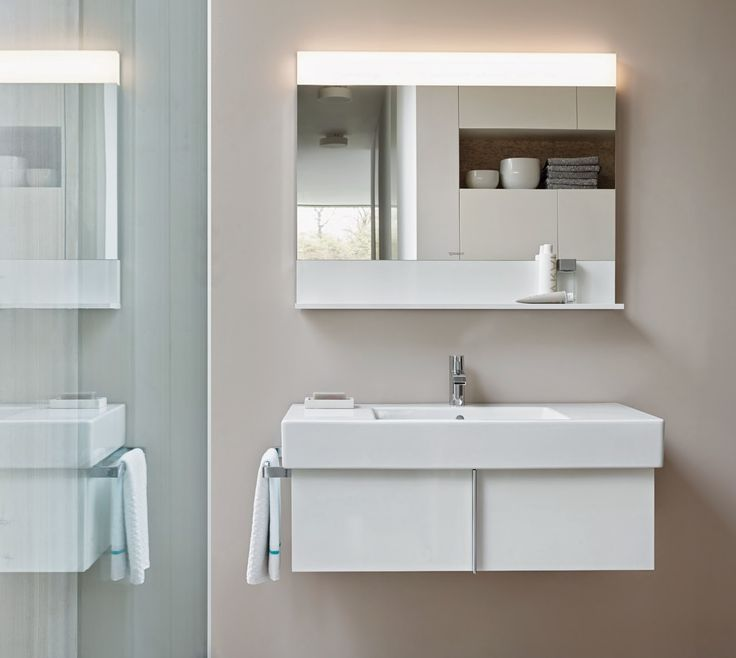 Duravit.Vero.Furniture.White.SoakinStyle.tiff Vanity: $620/ Mirror