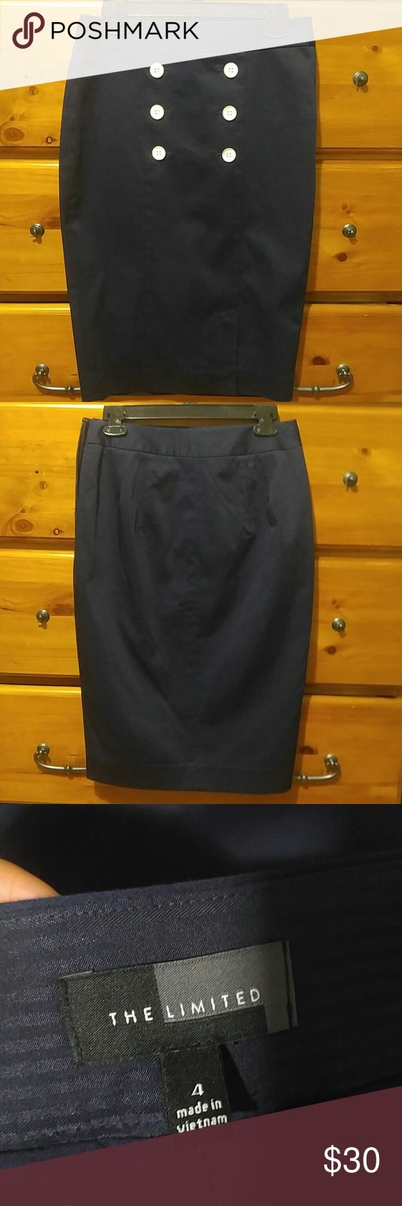 Navy blue pencil skirt Navy blue pencil skirt from the limited.   No defects.  Brand new.  Never worn.    No tag. The Limited Skirts Pencil