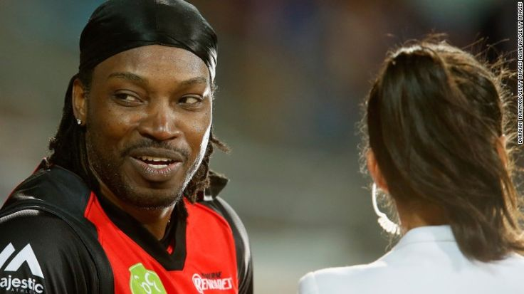 """Chris Gayle has apologized for comments he made during a live television interview in Australia. The former West Indies cricket captain said to journalist Mel McLaughlin """"I hope we can have a drink after. Don't blush baby."""" He has since been fined $7,100 for inappropriate conduct by his club, the Melbourne Renegades, with plays in Australia's Big Bash League."""