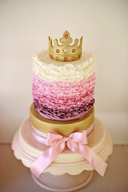 Bubble and Sweet: How to eat a Tiara - Pink Ruffle Princess Cake with Edible Gold Tiara