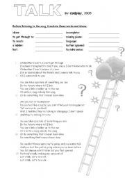 English worksheet: ´Talk´ song by Coldplay to introduce topic: Future