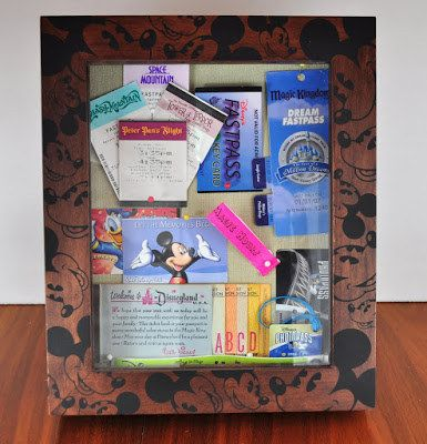 Make a Disney Shadowbox - parking pass, fastpass, lanyards, park passes, events lists, etc.