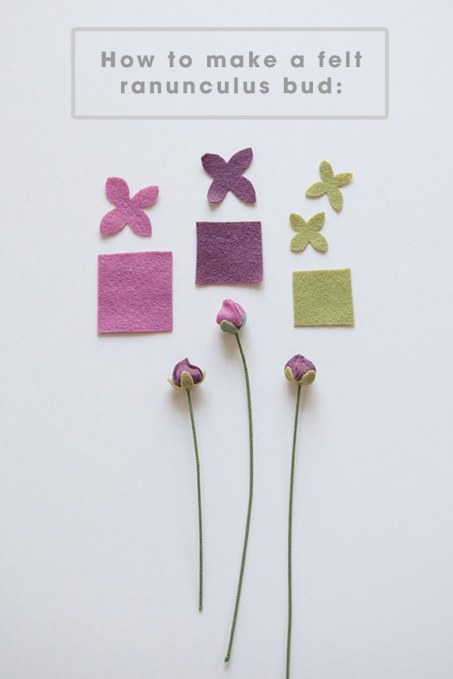 How to make felt ranunculus flower buds!!!
