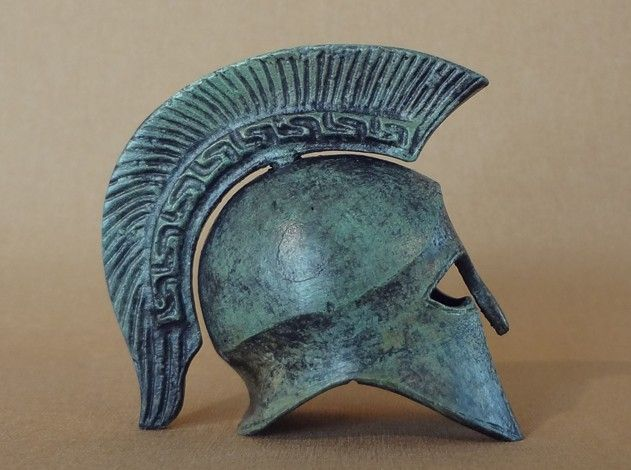 Replica of Greek helmet. www.itsallgreek.co.uk/category/freestanding-helmets/10081/ www.itsallgreek.co.uk/product/bronze-helmet-greek-key-crest/24560/