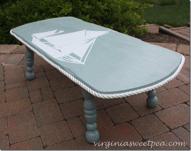 Nautical Themed Coffee Table Makeover | www.virginiasweetpea.com