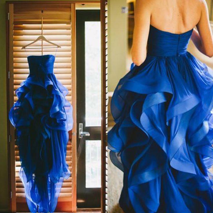 Элегантный 2016 Асимметричный Свадебные Платья Без Бретелек Синий Органзы Каскадные Оборками Свадебные Платья Мода Невесты Платья YY532 купить на AliExpress