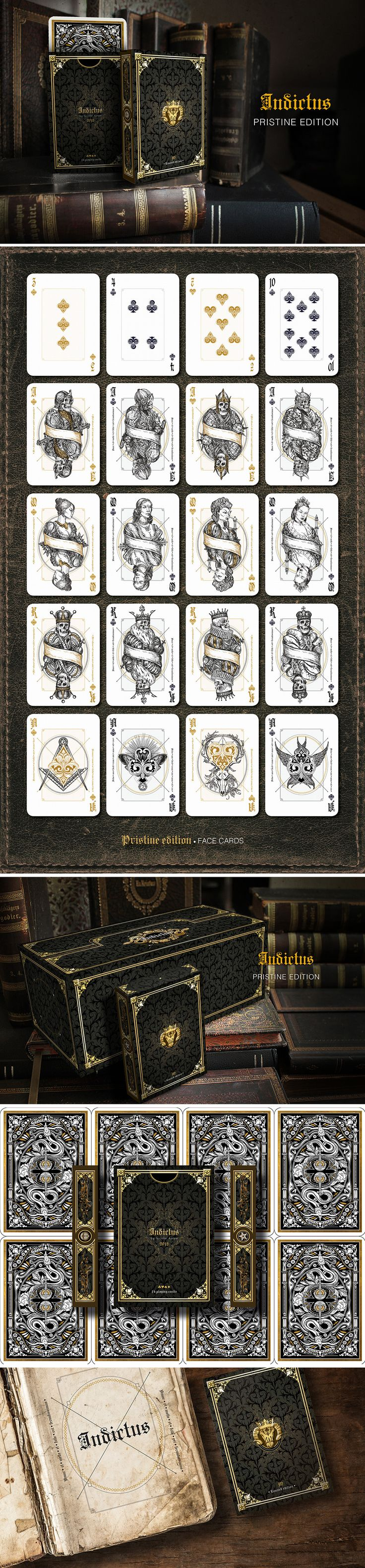 Indictus by Nicolai Aarøe - Pristine edition  2 embossed, gold foiled, metallic back inked, limited edition, deluxe decks of dark philosophy, and mysticism. Inspired by the Macbeth.  Learn more: https://www.kickstarter.com/projects/nicolaiaaroe/indictus-playing-cards