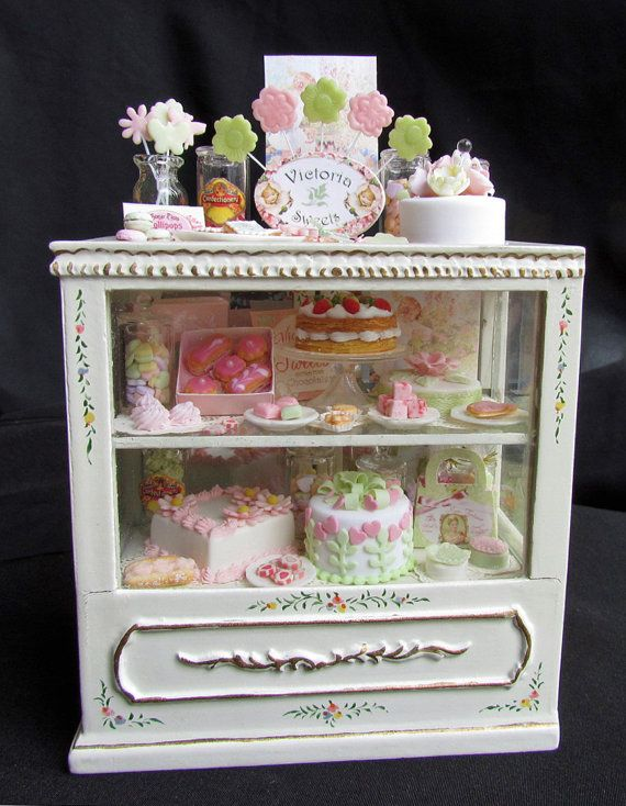 Dollhouse Miniature Food Pastry and Cake Bakery Counter - IGMA Fellow goddessofchocolate etsy