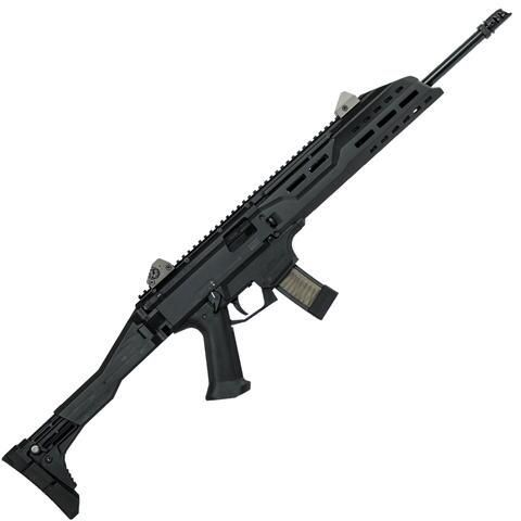 "CZ Scorpion EVO 3 S1 Carbine, 9mm with 16.2"" barrel. Holds 20 rounds and has a collapsible and foldable stock."