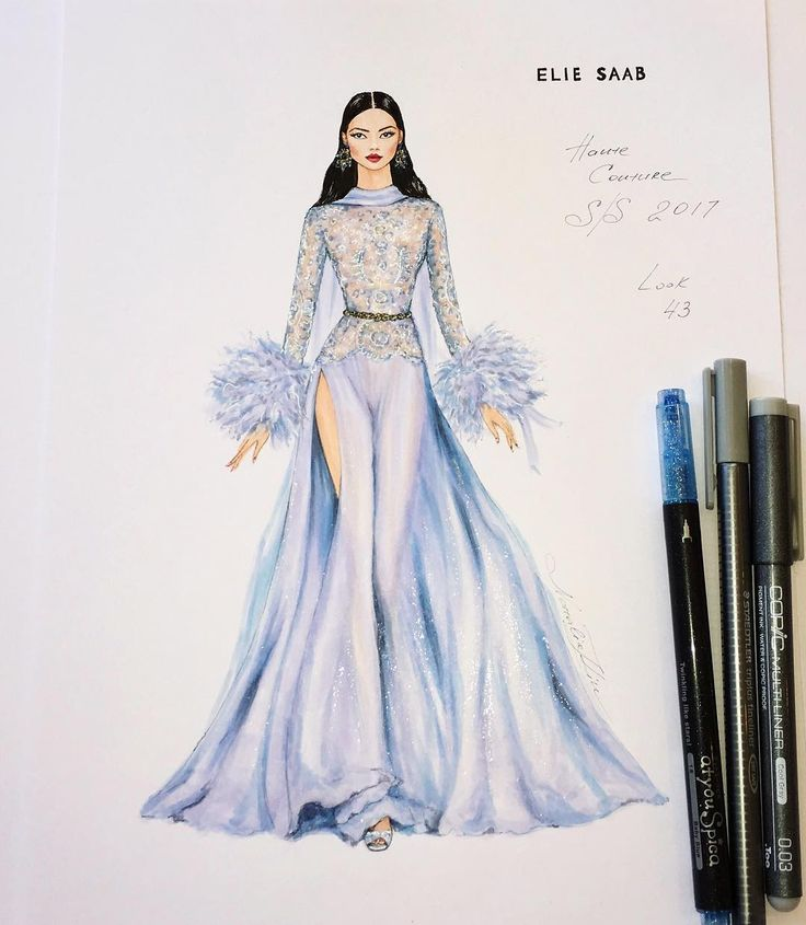 The illustration's inspired by glamorous silk chiffon and feathers jumpsuit @ElieSaabWorld ✨ of…""