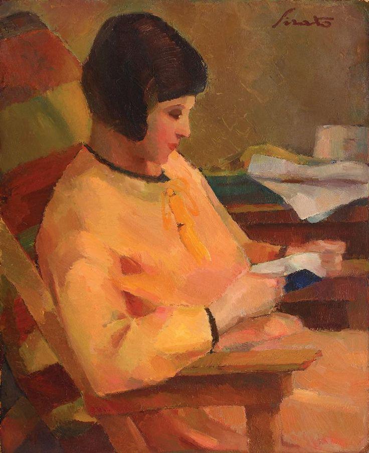 ✉ Biblio Beauties ✉ paintings of women reading letters & books - Francisc Şirato   ila in galben