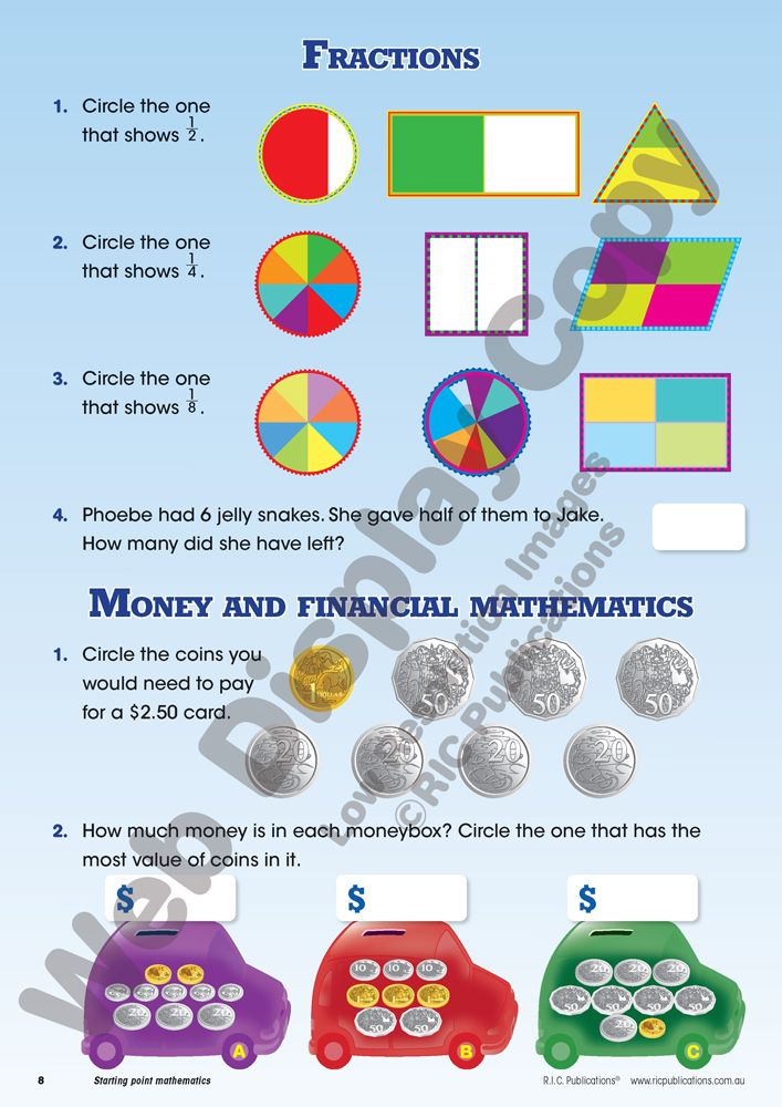 Starting point mathematics by Paul Swan and Linda Marshall. #Fractions and #money and financial matters worksheet. Australian #Curriculum. Year 3 #maths.