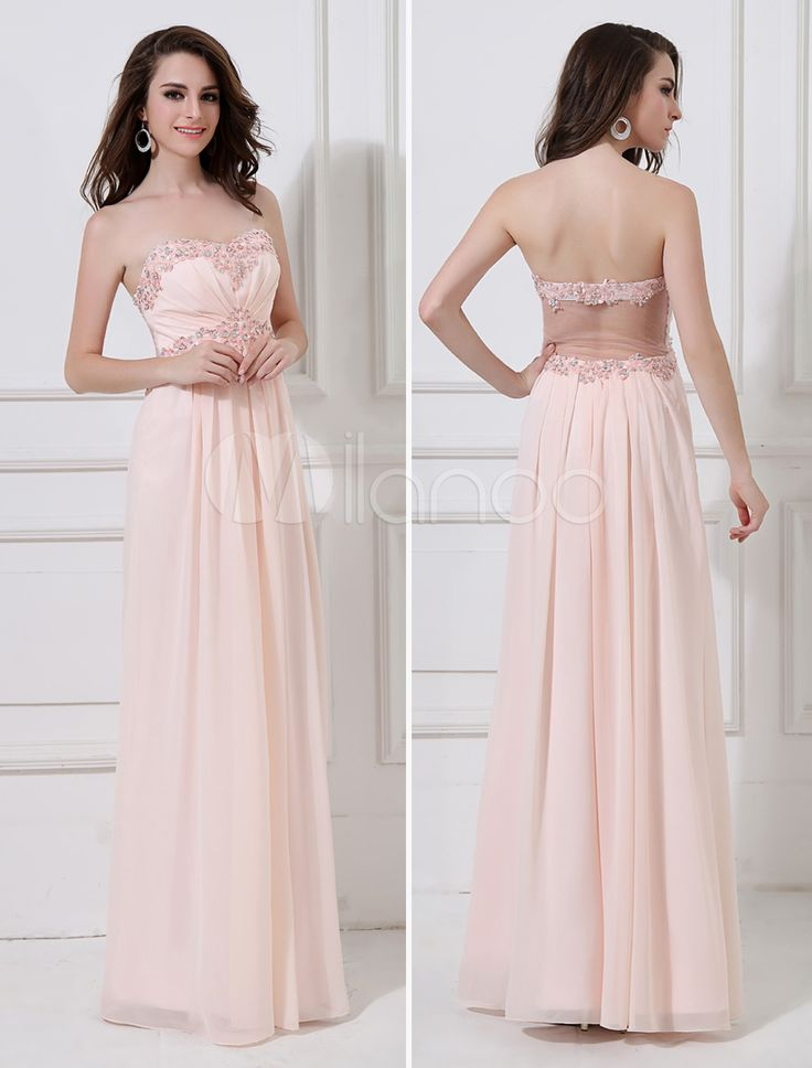 A-line Blushing Pink Chiffon Sweetheart Neck Beading Evening Dress with Floor-Length Design - Get unbeatable discounts up to 70% Off at Milanoo using Coupon & Promo Codes