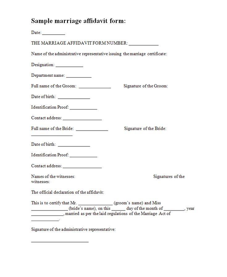 Affidavit Forms | Free Form Templates - marriage affidavit template