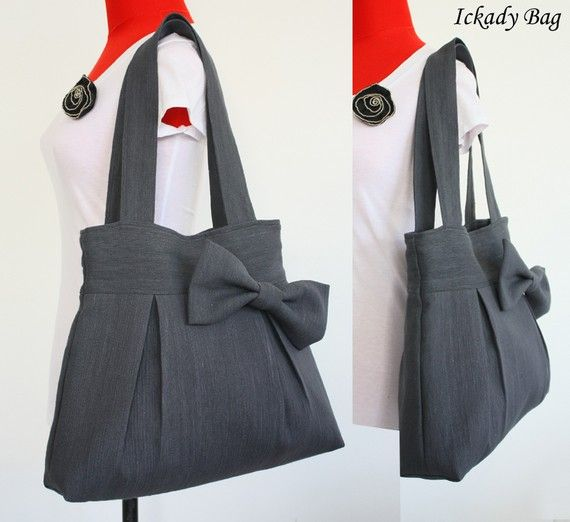 Summer Sale  Gray Canvas Bag with Bow  Shoulder Bag  by ickadybag, $32.00