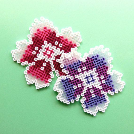 Hama/Perler/Fuse Bead Blossom Floral Pixel Art Bead Sprite Coasters, 8 Bit, Home Decor, Decorative, Flower Coasters, Pretty Coasters