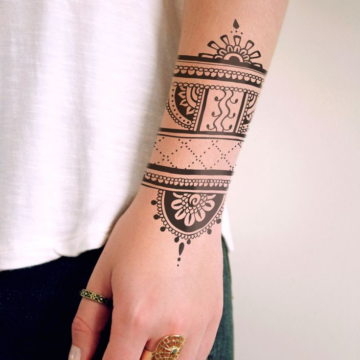 henna inspired temporary tattoo tats henna. Black Bedroom Furniture Sets. Home Design Ideas