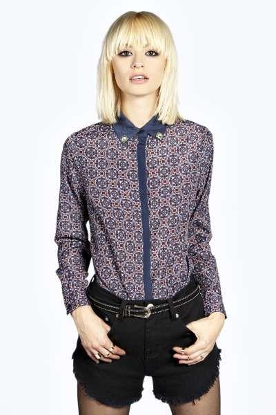 Boutique Ria Diamonte Metal Collar Tip Print Shirt at boohoo.com