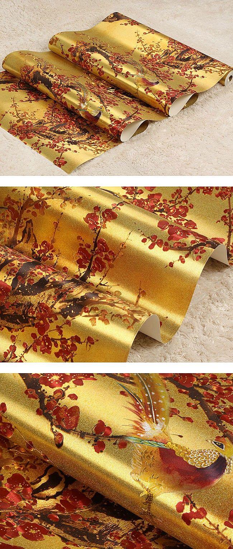 Китайский ретро цветы и птицы обои Роскошные золотистые классического искусства фон обои Золотая фольга рулона бумаги купить на AliExpress