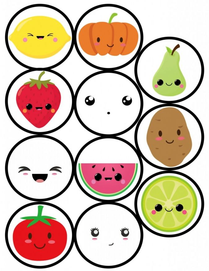 FREE Printable Kawaii Round Labels with Fruits and Faces ...