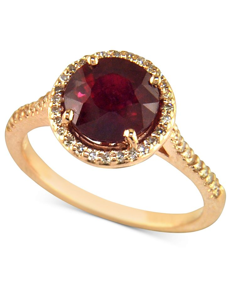 Rosa by Effy 14k Rose Gold Ring, Ruby (2-5/8 ct. t.w.) and Diamond (1/5 ct. t.w.) - Rings - Jewelry & Watches - Macy's