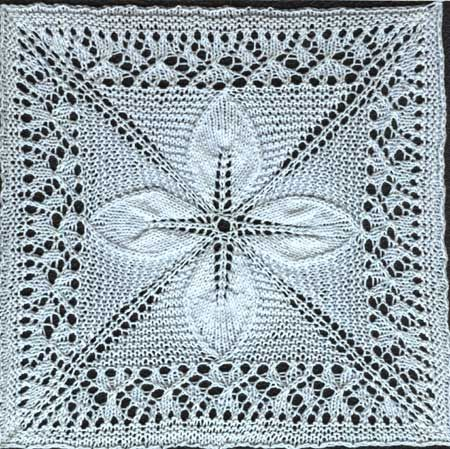 Knitting Lace Pattern In The Round : Free knitting pattern for a counterpane motif knit in the round with leaves a...