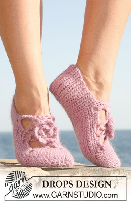 "Crochet DROPS slipper in ""Karisma"" and ""Kid-Silk"". Size 35 to 43. ~ DROPS Design"