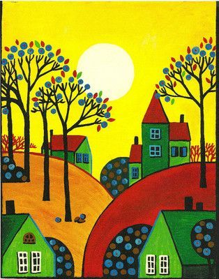 ACEO Print of Painting RYTA Abstract Folk Art Trees Houses Rolling Hills Sun Day   eBay