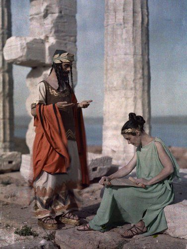 Two actors portray life in Ancient Greece at Poseidon's Temple, Sounion-1930 autochrome photo Maynard Owen Williams