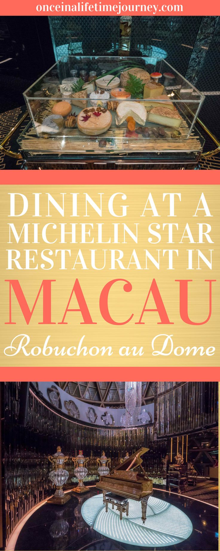Macau is filled with Michelin-awarded restaurants and during my last visit there I booked to dine at the only two that have three Michelin stars: Robuchon au Dome and The Eight. Click through to read about my experience dining at the French Michelin starred restaurant, Robuchon au Dome Macau, and to find out if I thought it was worth the price. | Once in a Lifetime Journey #macau #asia #michelinstar #robuchonaudome #finedining #frenchcuisine