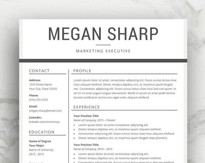 Professional Resume Template | CV Template for Word with Cover Letter | Simple Resume Template | Modern Resume Design | Mac or PC