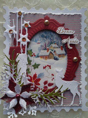 carte de voeux cadre timbre Sizzix Tim Holtz