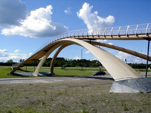 Da Vinci Bridge. Norway. Construction headed by Norwegian artist Vebjørn Sand. Opened 2001.