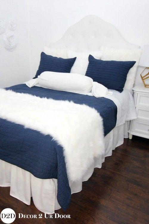 This Navy And White Apartment Bedroom Bedding Features Textured Furs,  Linens U0026 Ties. One Of Our All Times Favorites. Sleek, Clean, And A Bit  Masculine With ...
