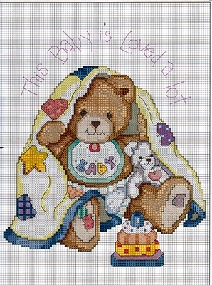 Cross-stitch Baby is, part 2... no color chart available, just use pattern chart as your color guide.. or choose your own colors...