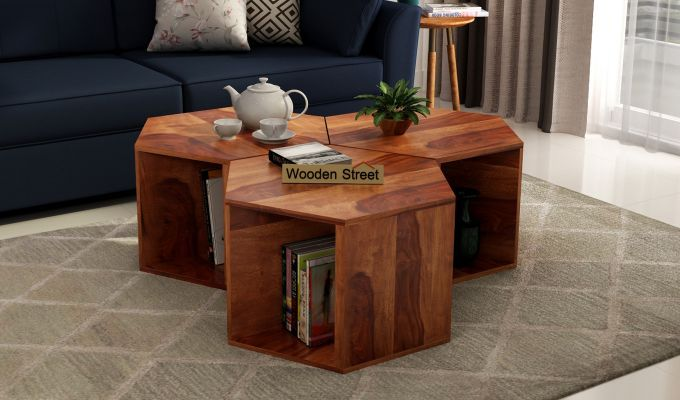 Buy Ruth Centre Table Set Of 3 Honey Finish Online In India In