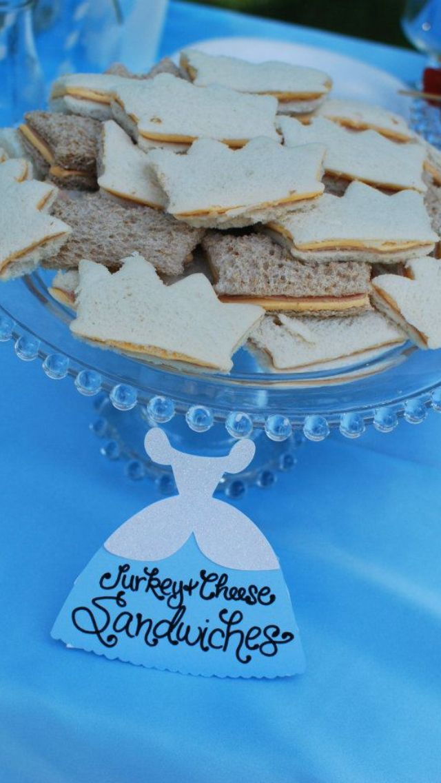 Cinderella party sandwiches...only cut into fish shapes.