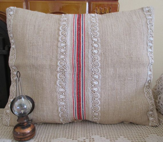 102. Antique grainsack pillow sham handwoven organic hemp