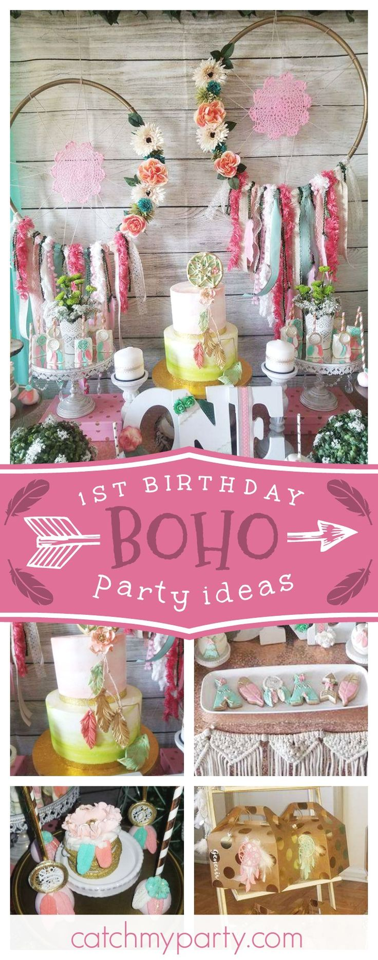 Check out this amazing Boho 1st birthday party!! The birthday cake is fabulous!! See more party ideas and share yours CatchMyParty.com #catchmyparty #boho #dreamcatcher #1stbirthday