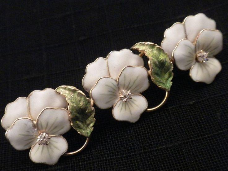 The Finest ART NOUVEAU 14kt Gold Enamel & Diamonds PANSY Pin Brooch = from vanitys on Ruby Lane